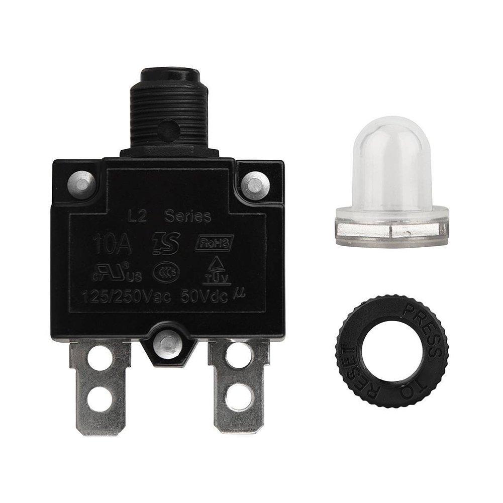 Tookie interruttore 5 a/a/a/a/Amp Manual reset impermeabile Push Button Resettable interruttore termico panel Mount, Come da immagine, 5a