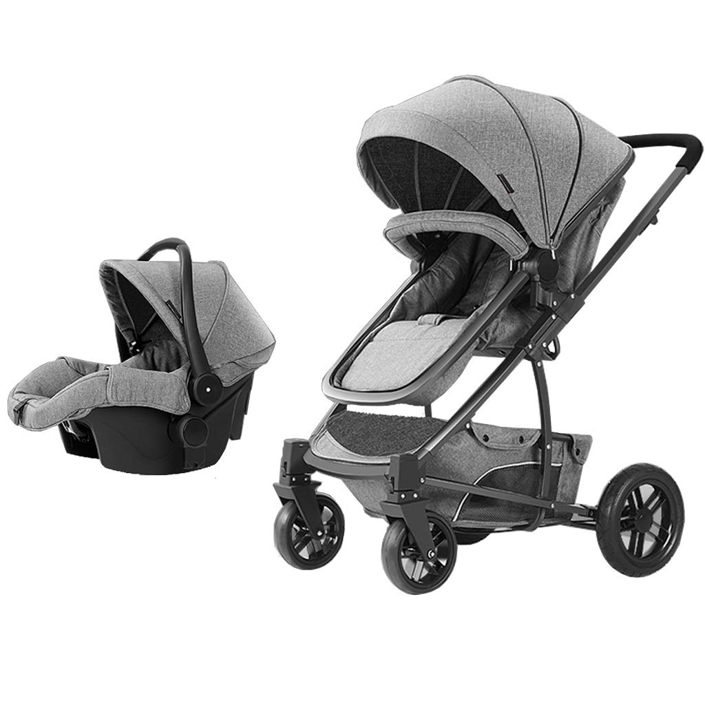 3 in 1 Travel System Pram Luxury Baby Stroller from Birth Up to 25 Kg with Safe Five-Point Harness and Brake, Adjustable Backrest Carrycot with Mattress and Buggy, Lying Position,Grey