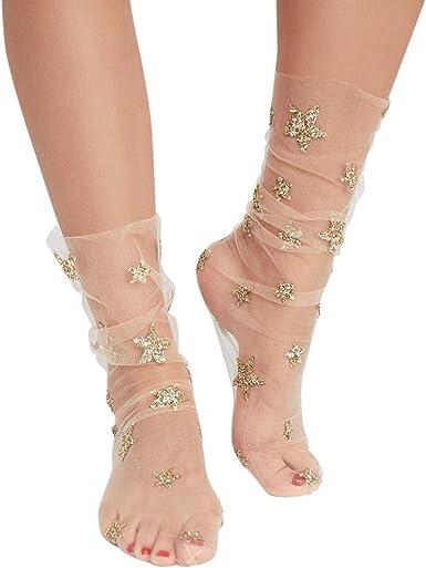 2 Pairs Women Glitter Star Soft Mesh Socks Transparent Elastic Sheer Ankle socks
