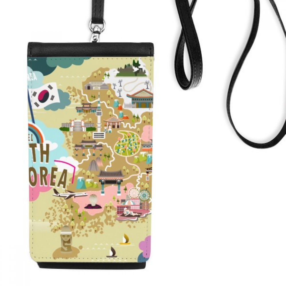 South Korea Map Love Travel Faux Leather Smartphone Hanging Purse Black Phone Wallet Gift