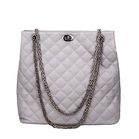 c04fa87a3625e UOXMDNJC Women Large Quilted Chain Shoulder Bag Ladies Pu Leather Handbag  Plaid Casual Tote Female Crossbody