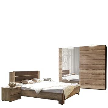 Mirjan24 Schlafzimmer Set Miro Bettgestell 2 Nachttische