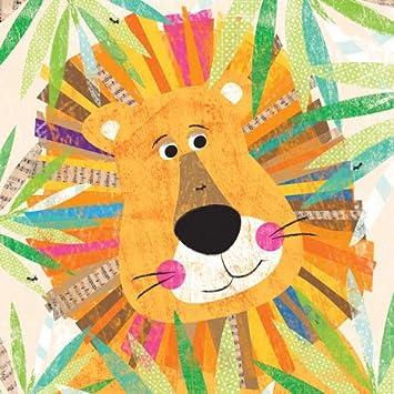 amazon com oopsy daisy peeking jungle buddies lion canvas wall