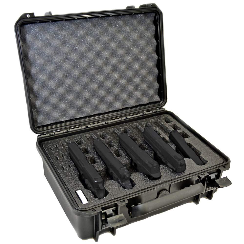 5 Pistol 18 Magazine Doro Waterproof Heavy Duty Gun Case with Custom MyCaseBuilder Foam Insert with Desiccant Canister by MY CASE BUILDER