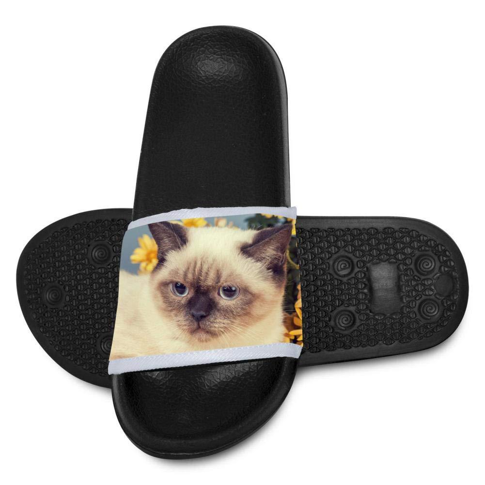 Qujki Kids Siamese Kitten Cat Beach Sandal Non-Slip Bath Slipper Black