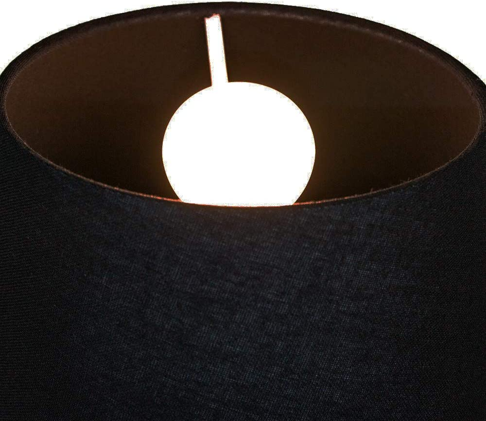 Traditional 8 Inch Black Linen Fabric Drum Table//Pendant Lamp Shade 40w Maximum by Happy Homewares