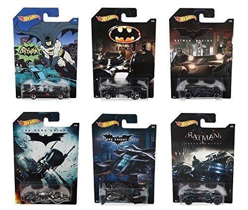 Hot Wheels Batman Complete Set of 6 Diecast Cars - Batmobiles, Bat-pod etc.