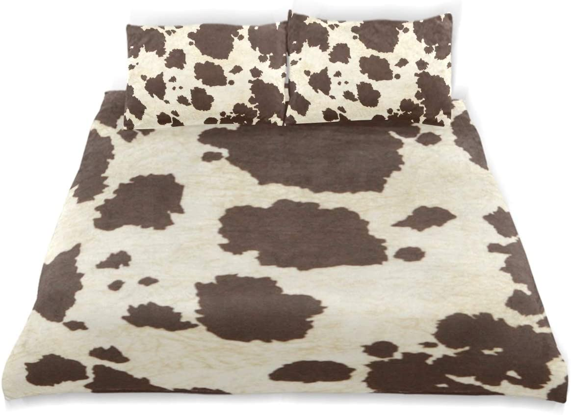 FANTAZIO Twin Size Cover Big Cow Fur Print Pattern 3 Pieces Bedding Set Including 2 Pillowcases Standard Size Pillow Cover for Children Teens 610Bg9lsrdLSL1200_