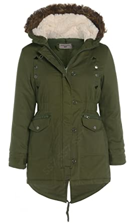 Canvas Parka Coat Khaki Jacket Girls Age 7 - 13: Amazon.co.uk ...