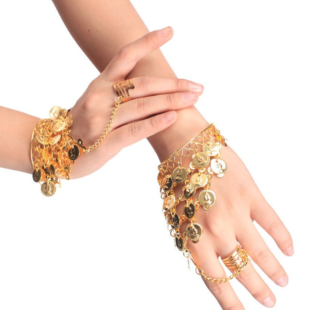 Silver Sealike Beautiful Belly Dance Gold Triangle Bracelet Gypsy Jewelry Coin Bracelet Hand Decoration Wrist Bangle Ring with a Stylus