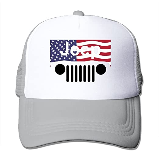 cc6f5fc2 Jeep American Flag Logo Mesh Trucker Caps/Hats Adjustable For Unisex Ash