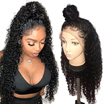 new specials great quality best sell AM Youth Curly Lace Front Human Hair Wigs 130% Density Brazilian Virgin  Hair Deep Curly Wig with Baby...