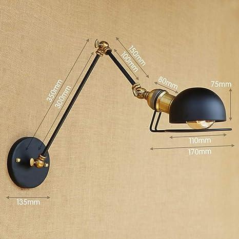 XY&XH Lighting Wall Light,Black Loft Style Industrial Wall Lamp Vintage Home Lighting Adjustable Swing