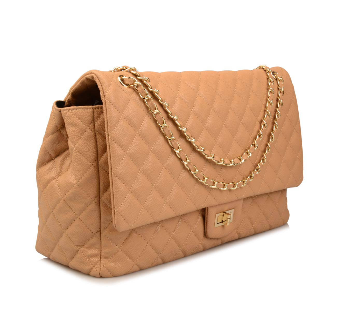 Ainifeel Women's Genuine Leather Oversize Quilted Flap Handbag Large Travelling Tote Bag Luggage Holdall (Oversize, Apricot (gold hardware)) by Ainifeel Quilted&Chain Strap Collection (Image #2)
