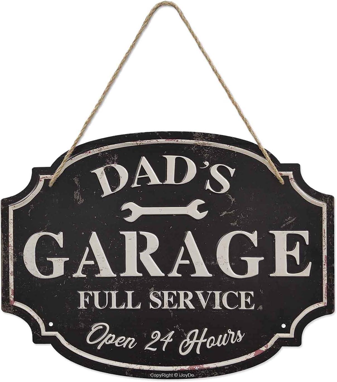 iJoyDo Dad's Garage Metal Sign, Best Dad Workshop Full Service Sign, Vintage 3D Wall Decor 16 x 12 Inch