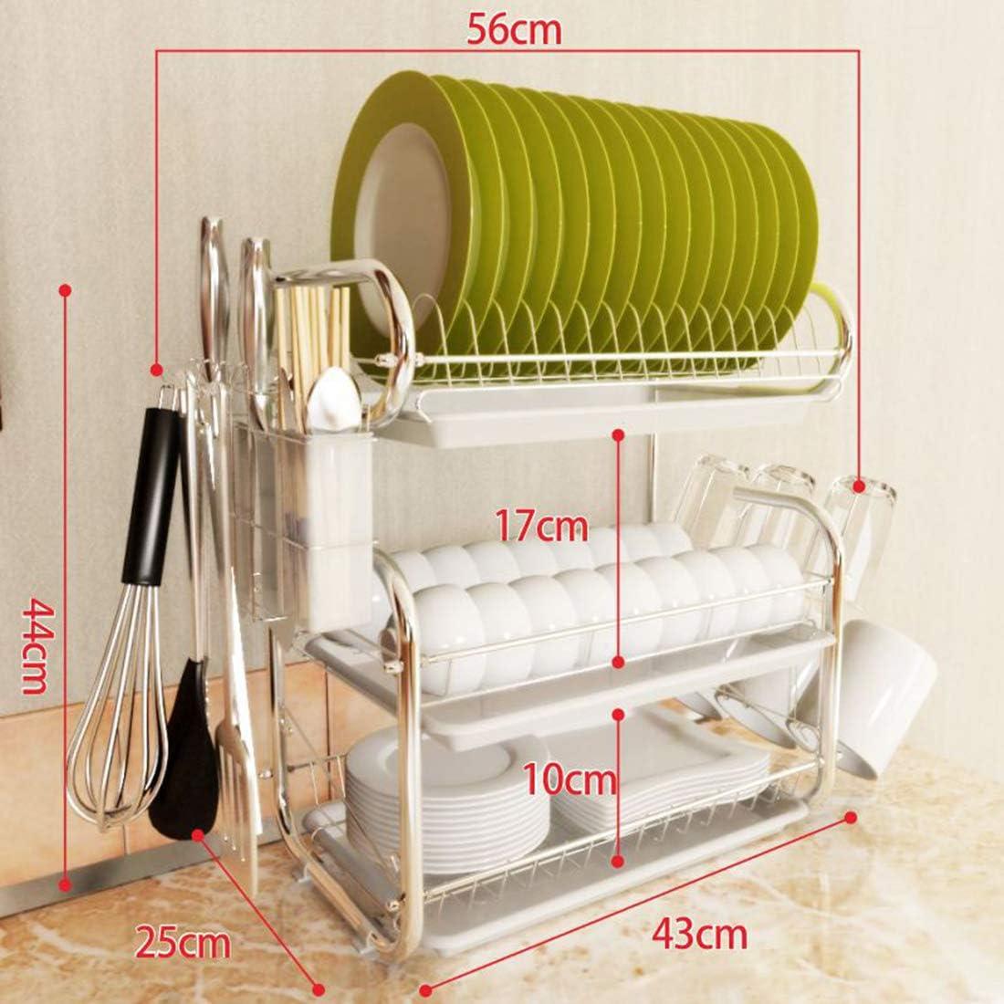 Medium pl/ástico para Platos y Tazas Acero Inoxidable Escurreplatos 3 Pisos 56 x 44 x 25 cm Blanco Dittzz