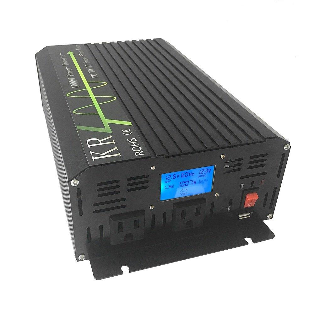 KRXNY 1000W Pure Sine Wave Power Inverter 12V DC to 110V 120V AC 60HZ with USB Port for Car/RV Home Solar System by KRXNY