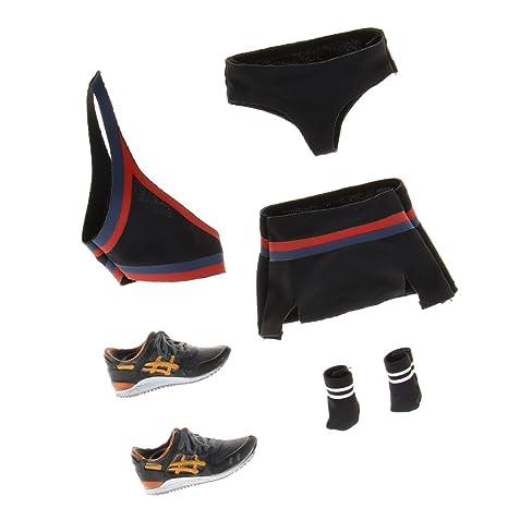 1//6 Female Action Figure Clothing Cheerleading Uniform Top Miniskirt Shoes Set