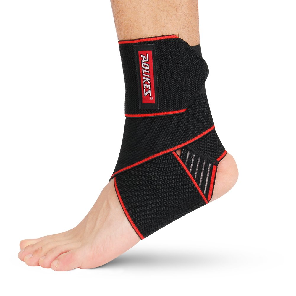 WATERFLY Ankle Brace Support, Anti-Slip Breathable Elastic Compression Wrap Adjustable Ankle Bandage for Sports for Men Women