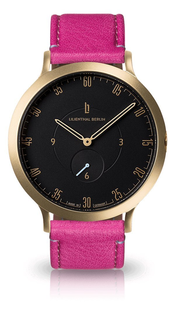 Lilienthal Berlin -Made in Germany- ベルリンの新しい時計モデル L1 ステンレススチール ケース B078WS9GLN Size: 42.5 mm|Case: gold / Dial: black / Strap: purple Case: gold / Dial: black / Strap: purple Size: 42.5 mm