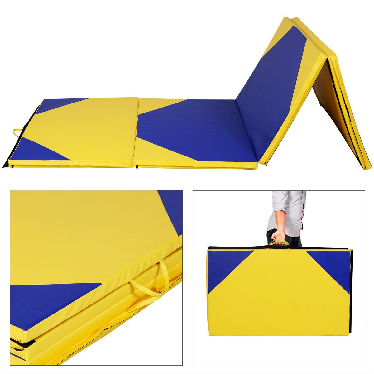 New Brand 1 PCS PU Leather Cover Gymnastics Mat Thick Folding Panel Gym Fitness Exercise Color Blue & Yellow Size 4'x10'x2'' by SASUPANSHOP