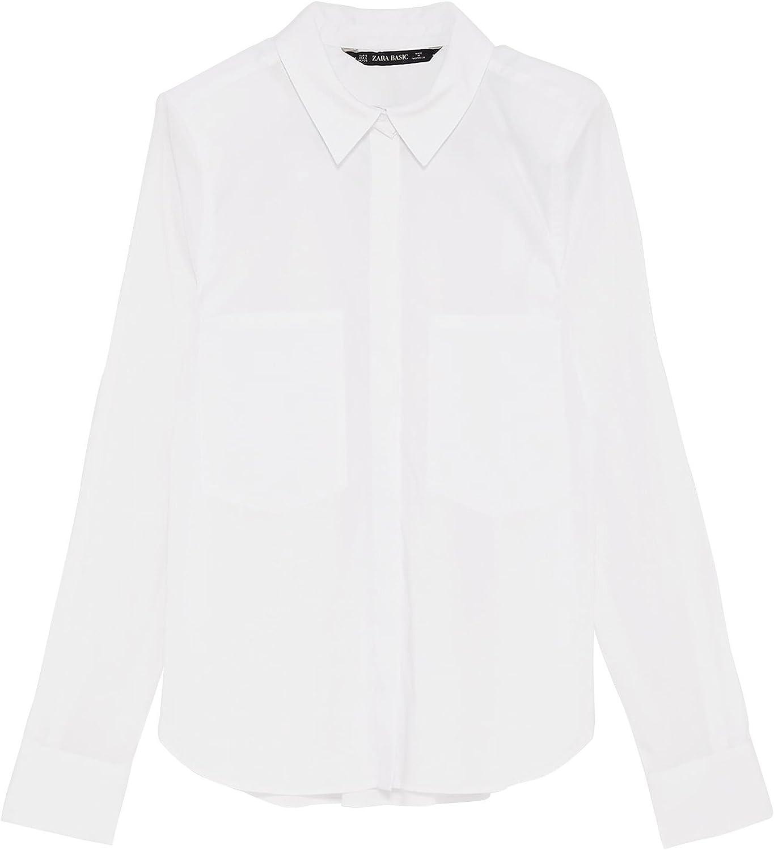 Zara - Camisas - para mujer Bianco Large: Amazon.es: Ropa y ...
