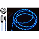 NEUES 2017 BLAU LED-FLOW USB-KABEL BELEUCHTETES LADEKABEL LED-TELEFON-AUFLADUNGSKABEL MICRO USB FLOWING KABEL