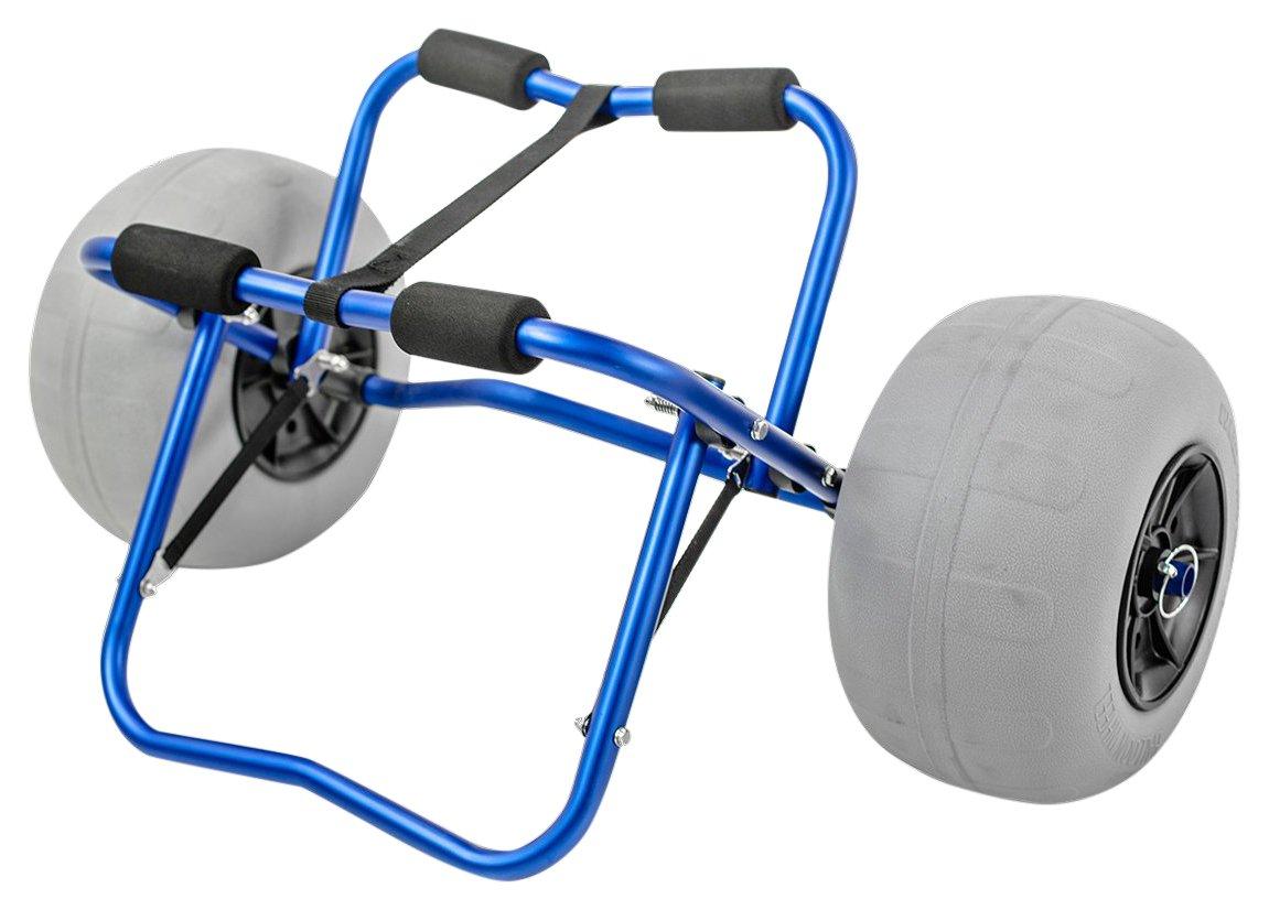 Challenger al aire libre carrito para kayak Carrier Dolly con gran globo neumáticos Heavy Duty azul marco + bomba y correa: Amazon.es: Deportes y aire libre