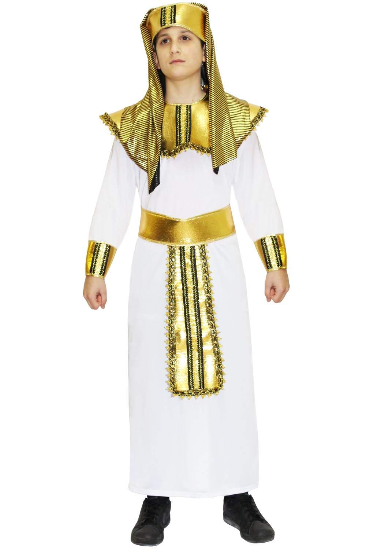 Pegasus Vestito Costume Maschera di Carnevale Ragazzo - Faraone - Taglia 5 6 Anni - 99 cm