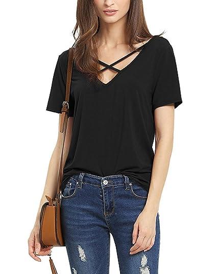 Lyxinpf Women's Criss Cross Front Shirt Short Sleeve Deep V-Neck Casual Tee  Shirts Tops