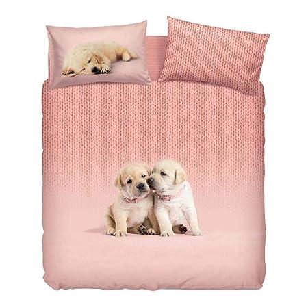 Copripiumino Bassetti Animali.Completo Copripiumino Soft Dogs Bassetti Singolo Rosa Cm 155 X 200