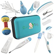 Baby Grooming Kit | Baby care New born Healthcare kits | Nursery Essentials Set for Babies Best Baby Shower and Registry gifts | Includes Nail Clipper Infant Hair Brush Comb Thermometer| Unisex (Blue)