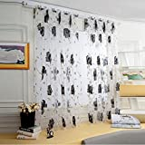 Window Curtain Drapes Scarf Decor,Quaanti Clearance Sale! Ultra-Light Ultra-Thin Luxury Voile Net Curtains Slot Top Plain Floral Door Screen Windows for Bedroom&Living Room& Kitchen (Gray)