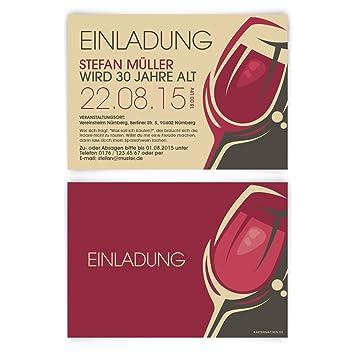 Einladungskarten Zum Geburtstag 50 Stuck Rotwein Rot Wein Glas