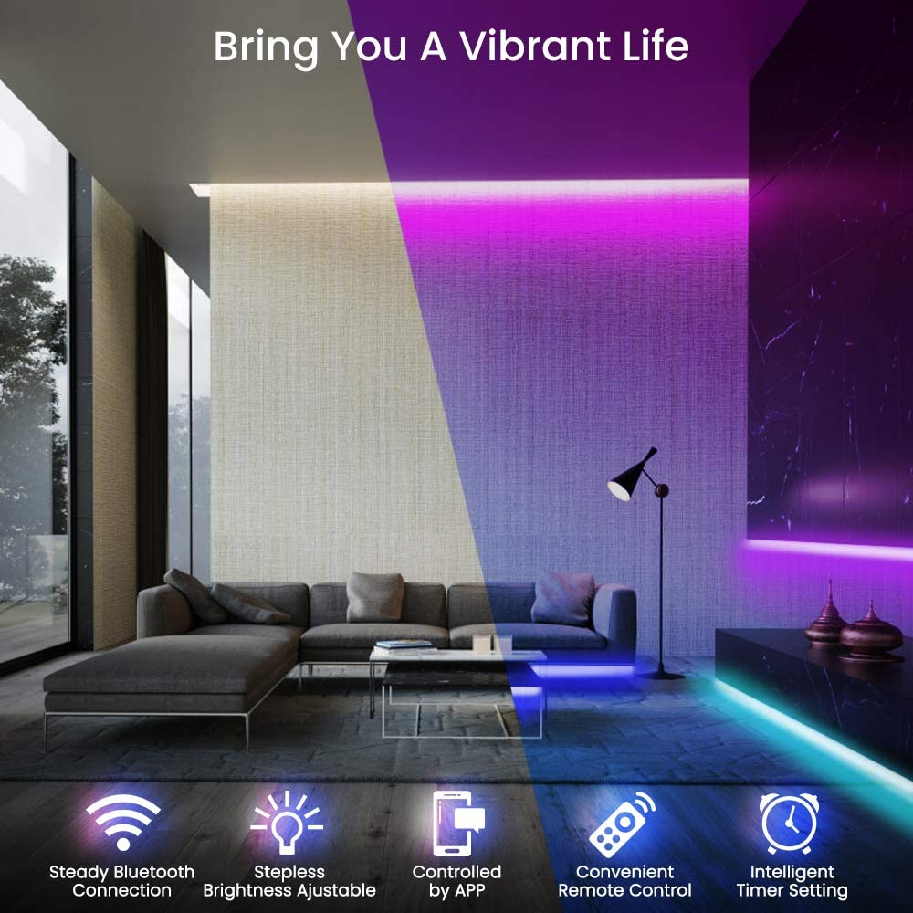 LED Strip Lights,SOLMORE LED Light Strips 32.8FT Bluetooth Wireless Smart Phone App Controlled Music RGB Tape Lights 300 Lights Rope Lights for Home Parties Birthday Bar Club Decoration