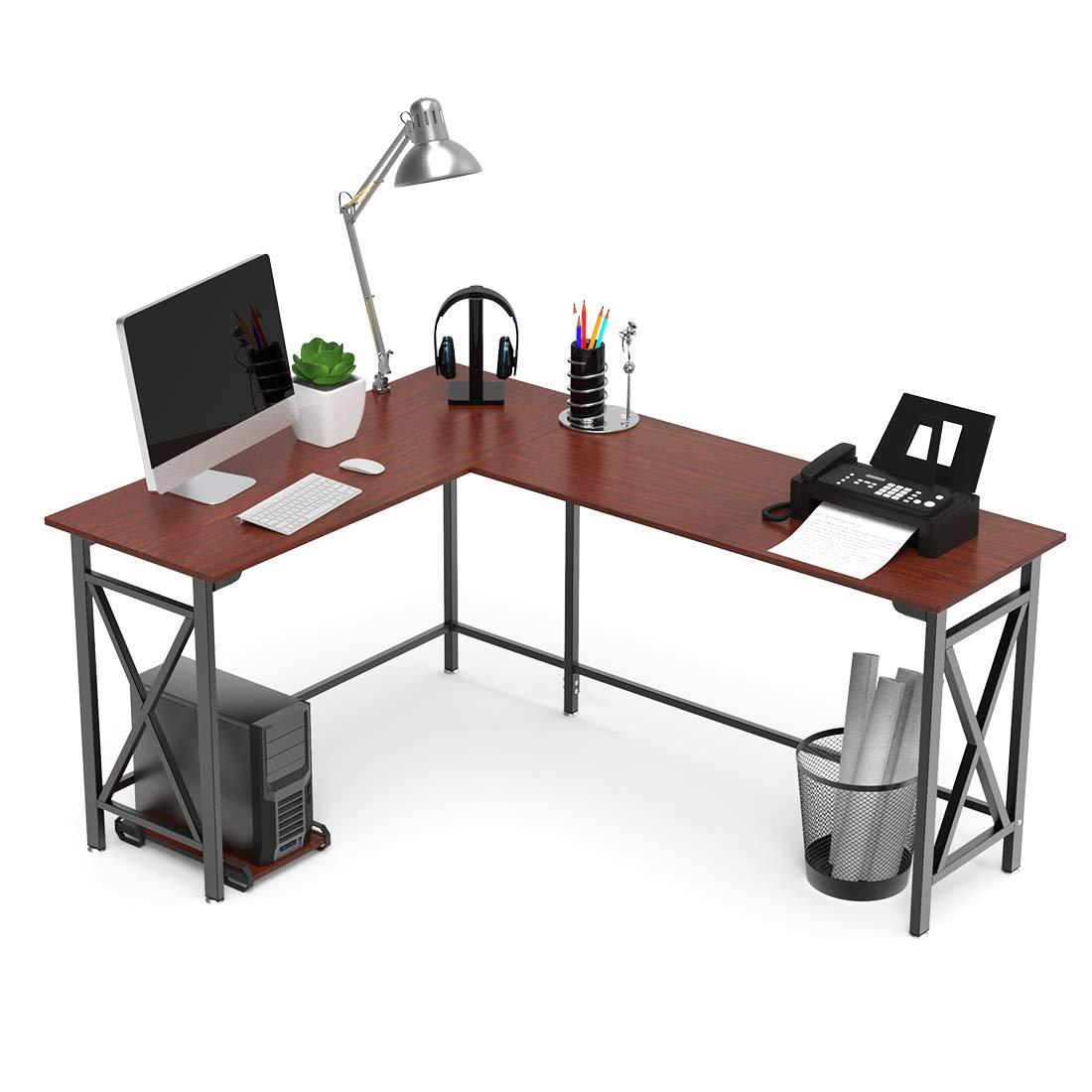 L-Shaped Computer Desk 67'' x 51'' Walnut Corner Computer Desks 2-Piece Corner Laptop Table Home Office Desk Desktop Computer Desks Workstation Desk with Free Wood Mainframe Holder Easy Assemble
