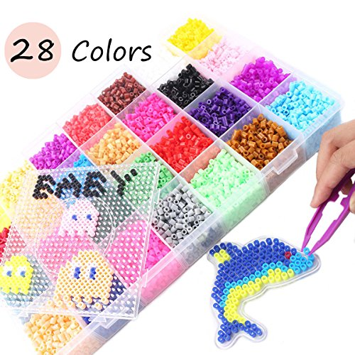 baby love home 28 Colors 5mm Perler Beads 18000pcs Perler Set Fuse Hama Beads DIY Accessories Child Toy Puzzle Toy]()