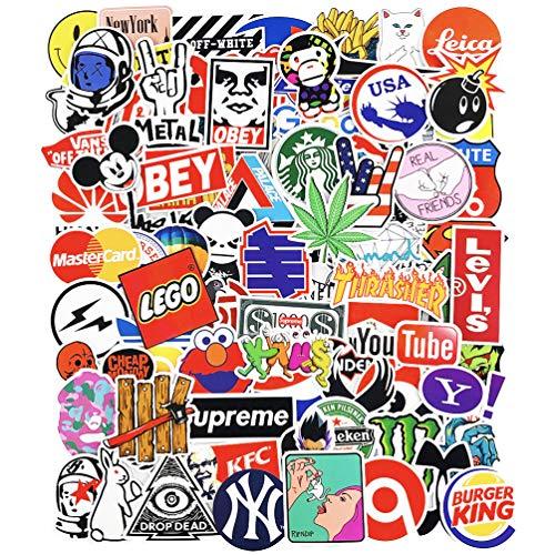Cool Logo Brand Stickers Waterproof for Laptop Water Bottles Skateboard Car Vinyl 100pcs (Logo Brand Stickers 100pcs)