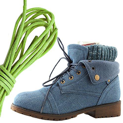 Daily Shoe Mujeres Combat Style Lace Up Sweater Top Tobillo Botín Con Bolsillo Para Tarjeta De Crédito Knife Money Wallet Pocket Botas, Verde Lima Denim Azul