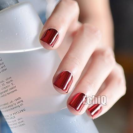 echiq 24 LED de color rojo oscuro Metal Plate uñas postizas reflectante espejo estilo punk metálico