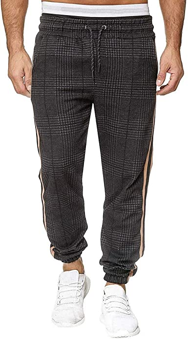 WUAI-Men Slim Jogger Sweatpants,Stripe Work Pants,Training Pants for Sport Running Gym,Athletic Jogging Pants