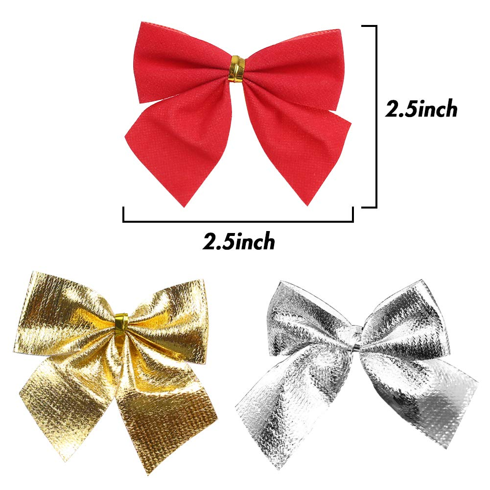 MCpinky 36 PCS Gold Silver Red Tree Bows Mini Christmas Ribbon Bows for Christmas Tree Presents Decorations Charms Ornaments