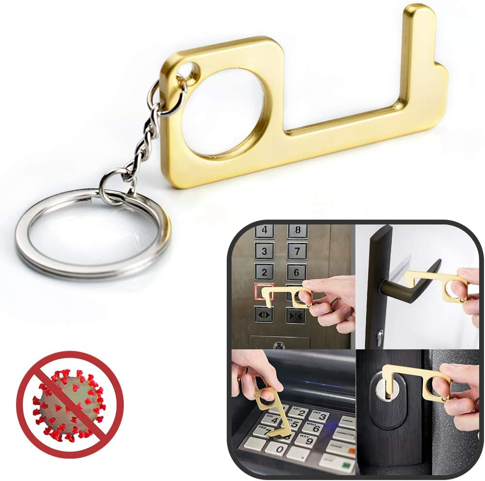 No-Touch Door Opener Contactless Safety Door Opener Gold-3 pcs EDC Door Opener Tool No-Touch Elevator Press Stick Button Pusher Tool,Easy to Carry