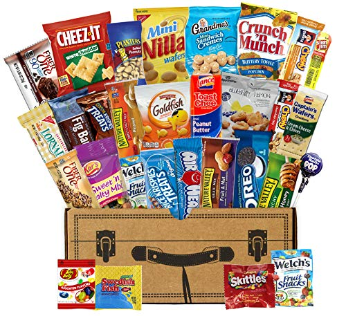 Mr. Snackbox Classic Crunch Case Care Package (30 Count) Variety Snack Gift Box – College Students, Military, Office or Home –Candy, Cookies, Chips, Granola & More