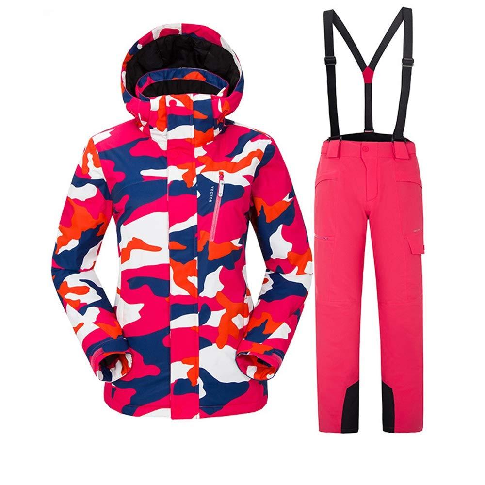 アウトドアスキースーツセット女性の防風性の暖かい通気性のスキースーツセット (色 : C3, サイズ : S)