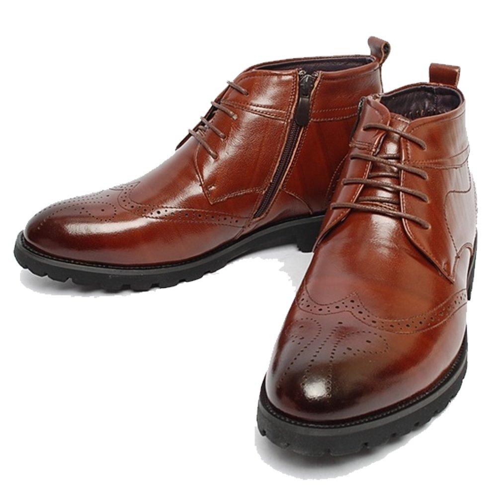 Epicsnob Mens Shoes Brown Leather Dress Fur Warm Snow Chelsea Zip Ankle Boots 7.5 M US