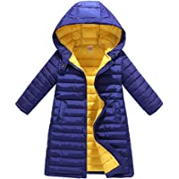 Zhhlaixing Cute Kids Hooded Quilted Puffer Jacket Winter Coats - Outdoor Thick Warm Slim Long Down Cotton Jacket for Boys Big Girls