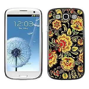 Be Good Phone Accessory // Dura Cáscara cubierta Protectora Caso Carcasa Funda de Protección para Samsung Galaxy S3 I9300 // Floral Pattern Wallpaper Art Flowers Yellow