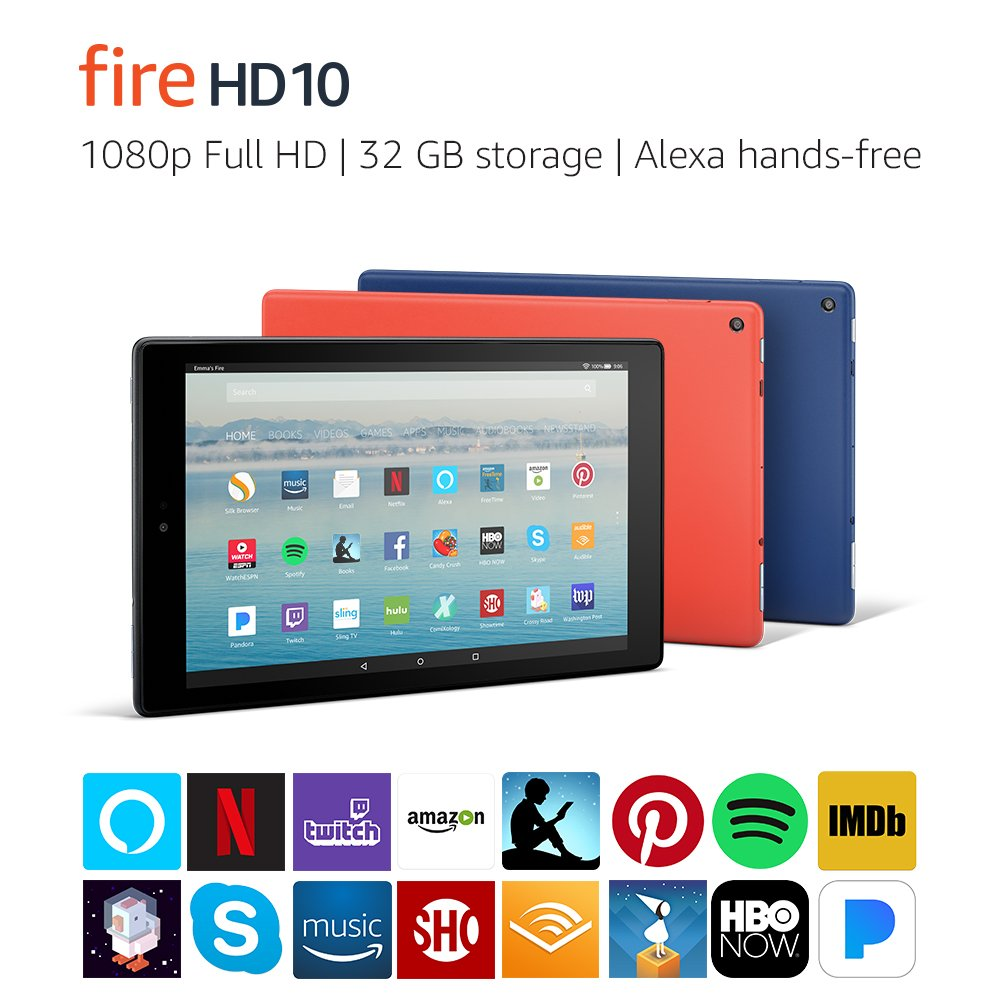 "All-New Fire HD 10 Tablet with Alexa Hands-Free, 10.1"" 1080p Full HD Display, 32 GB, Black - with Special Offers"