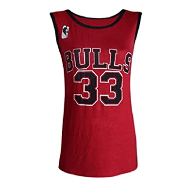 122e6b95b8f LADIES WOMENS BULLS 33 / Heat 6 VARSITY AMERICAN BASKETBALL JERSEY VEST T-SHIRT  TOP (UK (12-14), Red): Amazon.co.uk: Clothing